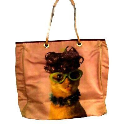 "Purse VINTAGE 1980's ""Anya Hindmarch"" Handbag Light Pink ""Crazy Cat Design"" Tote"