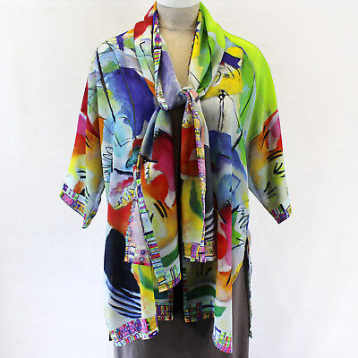 New Dilemma Plus Kandinsky Inspired 100  Silk Caftan Scarf Set Os Fits Xl 1X 2X