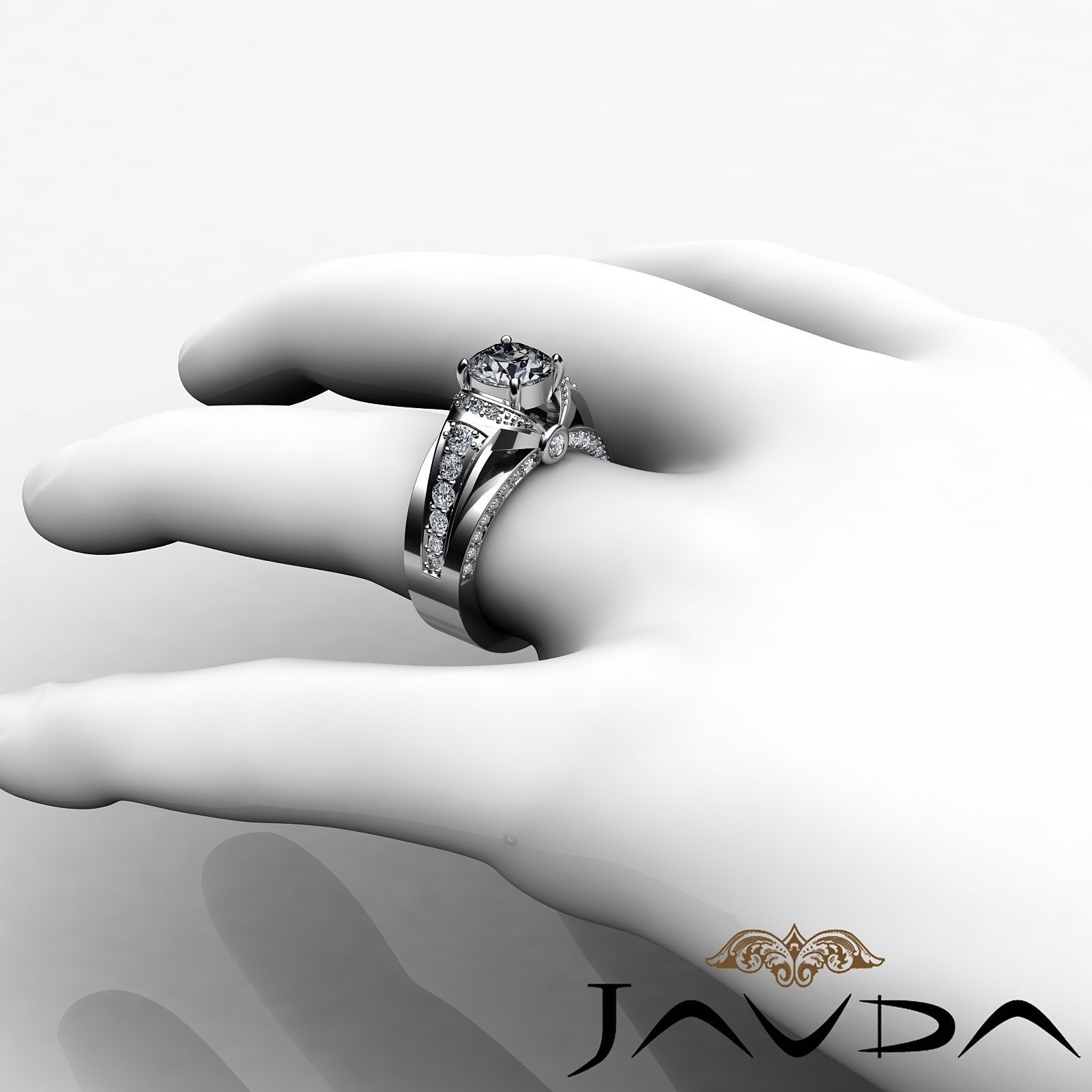 1.7ct Knot Classic Sidestone Round Diamond Engagement Ring GIA H-VVS2 White Gold 4