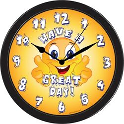 Smiley Face Happy Yellow Big Large Funny Decorative Wall House Office Clock Art