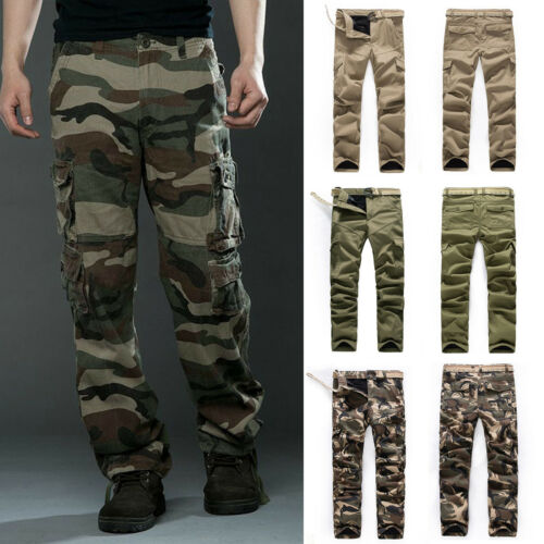 Herren Cargo Hose Lose Fit Armee Militär Camo Baggy Arbeithose Freizeit Hosen