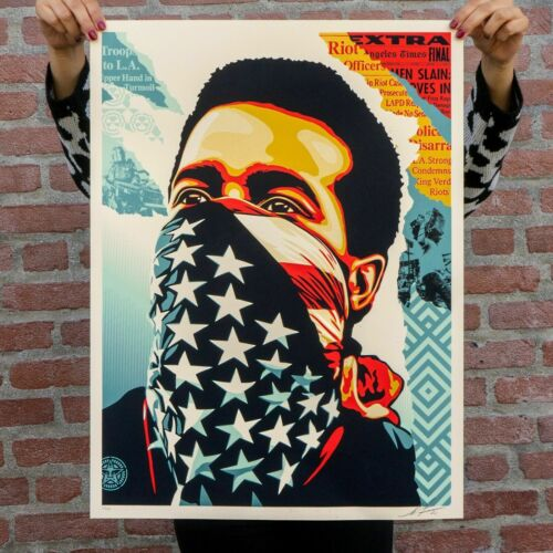 IN HAND * AMERICAN RAGE Shepard Fairey Obey Giant Screen Print Poster Signed