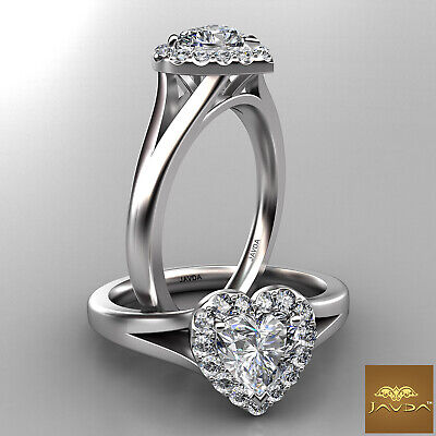 Split Shank Halo Heart Diamond Engagement French Pave Set Ring GIA F VS2 0.70Ct