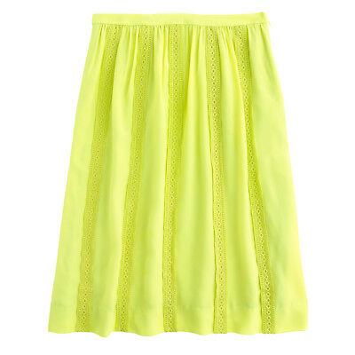 (J.CREW Collection neon lace-stripe silk SKIRT 4P/4 petite/XS yellow NEW)