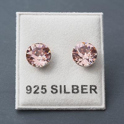NEU 925 Silber OHRSTECKER 8mm SWAROVSKI STEINE vintage rose/rosa OHRRINGE