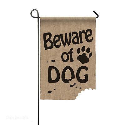 Beware of Dog Burlap Garden Flag