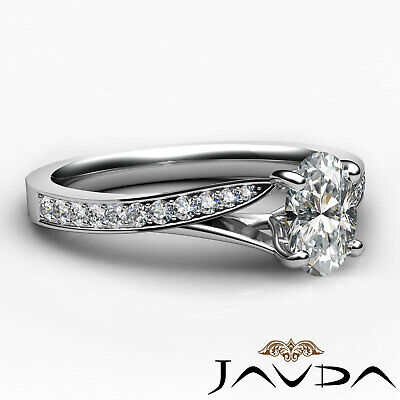 Cathedral Split Shank Pave Oval Diamond Engagement Ring GIA E Color VS2 0.85 Ct 2