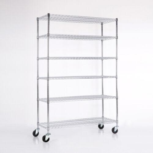 Купить Uenjoy - 4/5/6 Tier Heavy Duty 82x48x18 Wire Shelving Rack Steel Shelf Adjustable