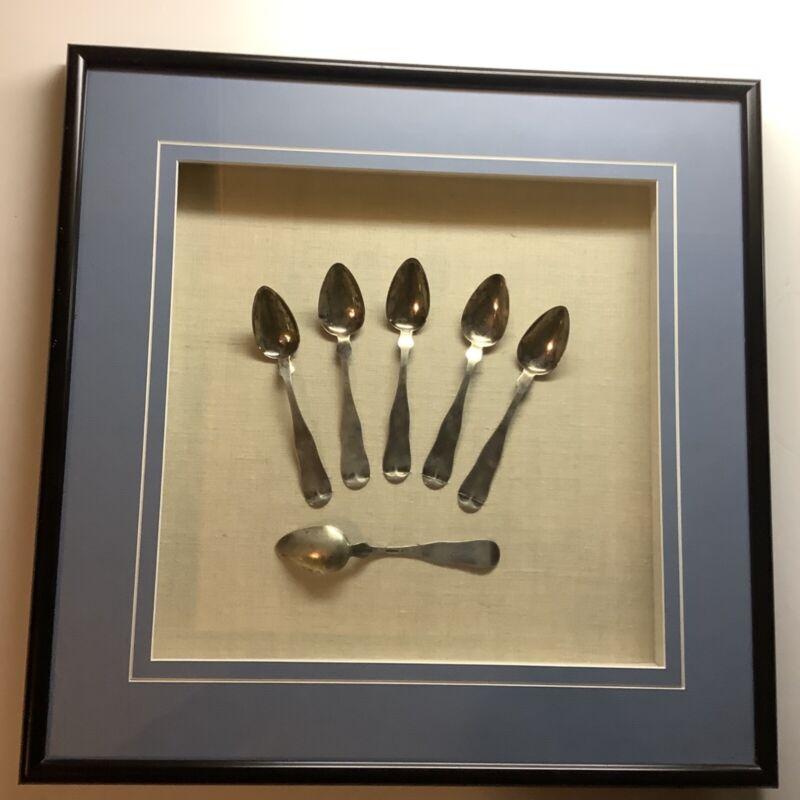 Providence R.I. Silversmith Franklin Richmond Set Framed Silver Spoons Ca 1830