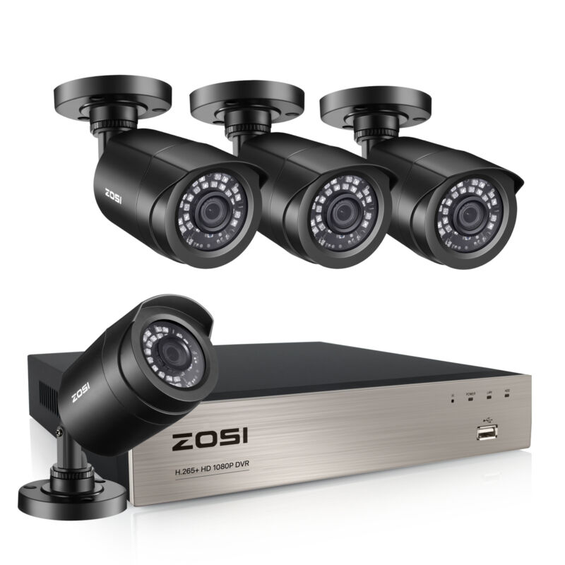 ZOSI 8CH H.265+ 5MP Lite DVR 1080P Outdoor CCTV Home Security Camera System Kit