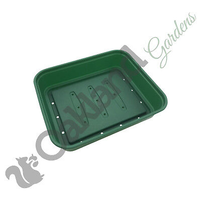 100 x Small 22cm Seed Tray With Holes Green Rigid Strong Propagator Tray