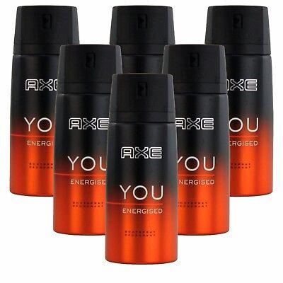 6 x 150ml Axe YOU Energised Deo Deospray Deodorant Bodyspray Herren Parfüm