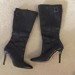 Black leather stiletto heel boots Cronulla Sutherland Area Preview
