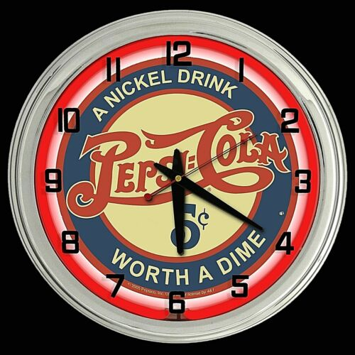 "16"" Pepsi Cola Nickel Drink Worth Worth a Dime Sign Red Neon Clock"