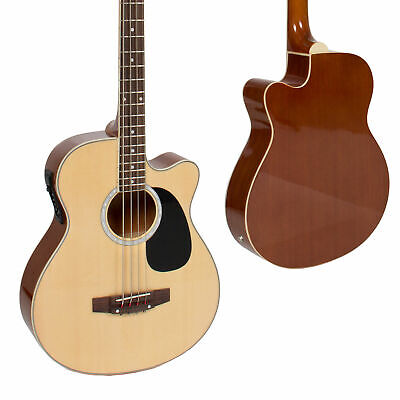 4 String Full Size Wood Acoustic Electric Bass Guitar w/ Equalizer Truss Rod (4 String Acoustic Bass)