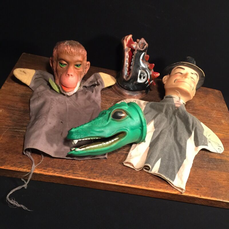 Vintage Hand Puppet Lot Dick Tracy Planet of the Apes Chimp Dragon Alligator