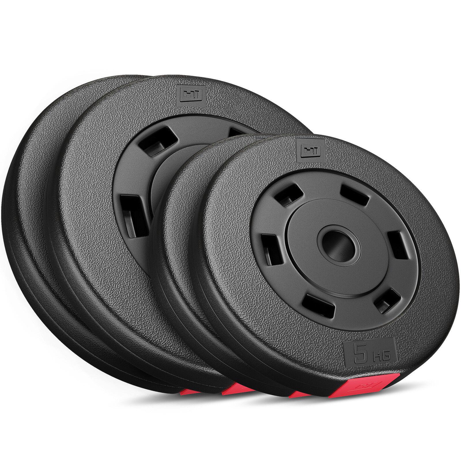 Hantelscheiben 5, 10, 20, 30 kg Kunststoff Gewichte Hanteln Set Gewichtsscheiben