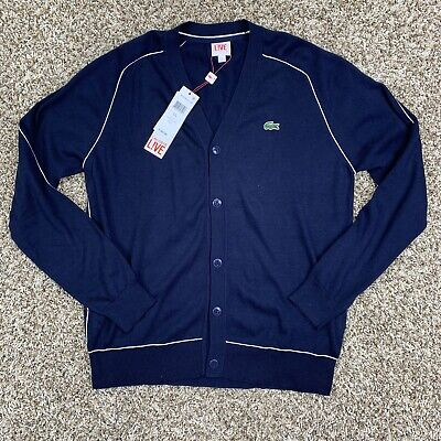 Lacoste Live Jersey Cardigan Size Large Mens Blue White MSRP $165