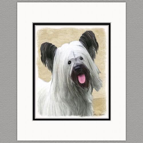 Skye Terrier Dog Original Art Print 8x10 Matted to 11x14