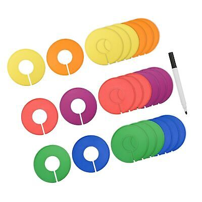 Blulu Colored Blank Closet Size Dividers Round Clothing Rack Dividers 24 Piec...