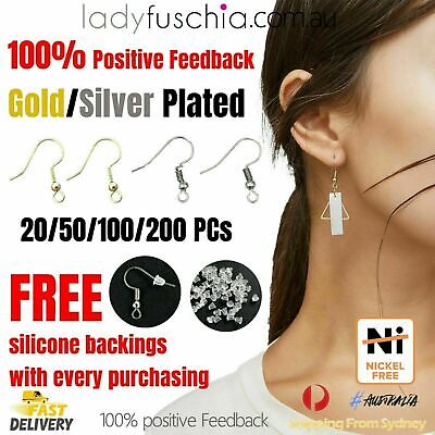 Jewellery - SYD Silver Gold Plated Earring Hook Ear Jewellery Making DIY Free Silicone Back
