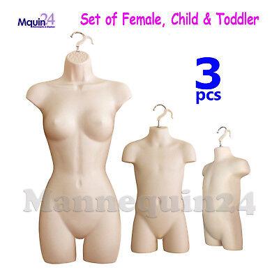 3 Flesh Mannequin Torso Set Female Child Toddler Dress Forms