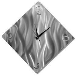 Modern Silver Metal Wall Clock - Abstract Home Decor Wall Art by Jon Allen