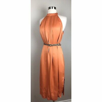 C/MEO Collective Women's Tangerine Can't Resist Midi Dress Flawed No Belt Large