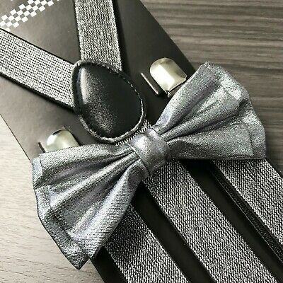 Metallic Silver Glitter Suspenders and Bow Tie Matching Set Wedding Prom