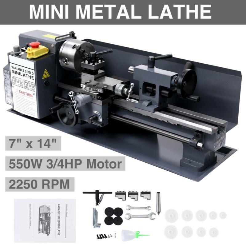 "7"" x 14""Mini Metal Lathe Machine 550W Variable Speed 2250 RP"