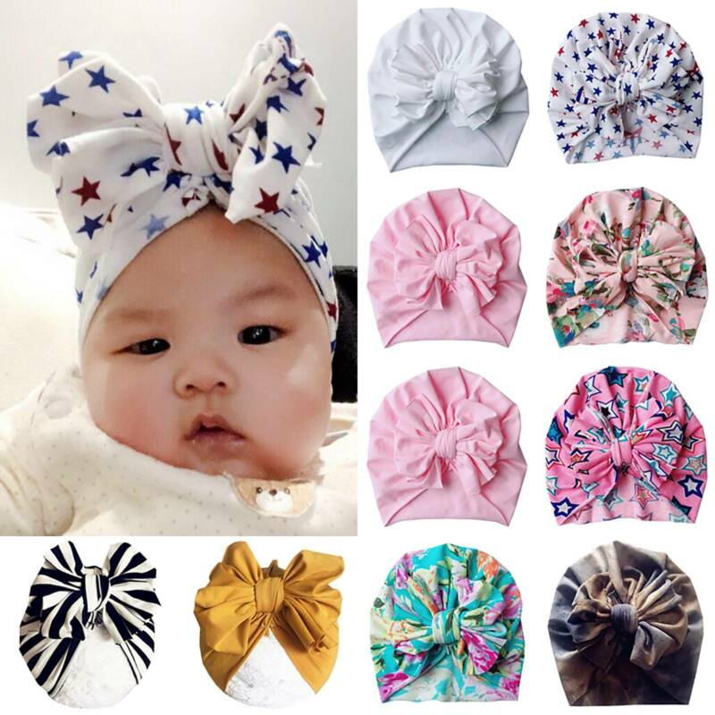 Toddler Kid Baby Boy Girl Infant Bow-knot Beanie Turban Hat