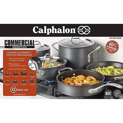 New Calphalon Commercial Nonstick Hard Anodized 13 Piece Cookware Set