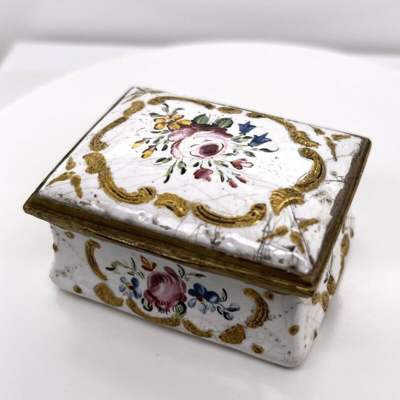 Antique Rectangular 18th Century White Battersea Bilston Enamel Snuff Box - VR
