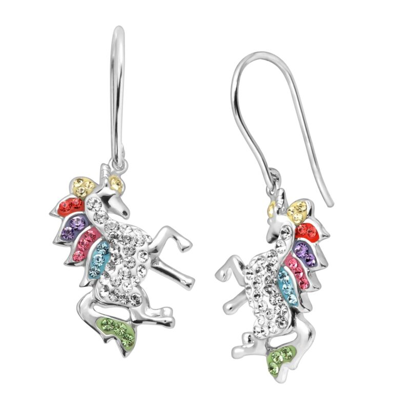Crystaluxe Unicorn Drop Earrings with Crystals in Sterling Silver