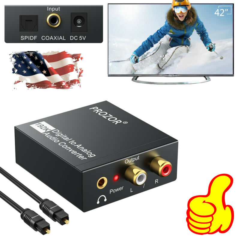 192 KHZ 3.5mm Digital to Analog Audio Converter Adapter L/R RCA Audio Adapter US