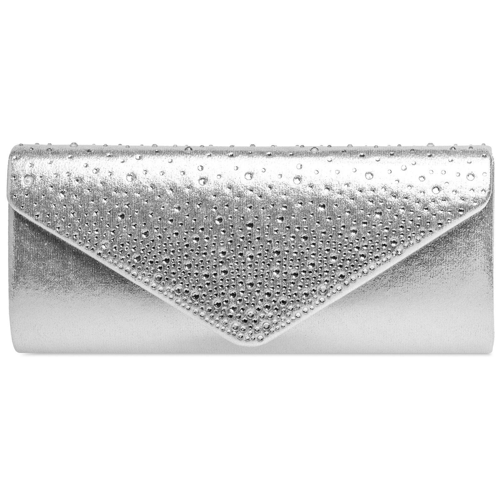 CASPAR TA422 Damen Clutch Tasche Abendtasche Baguette Briefumschlag Silber
