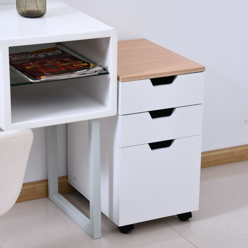 """3-Drawer Rolling Filing Cabinet File Storage Organizer Home Office White 13x18"""""""