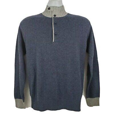 Doriani 100% Cashmere Long Sleeve Blue Button Collar Sweater Size 48