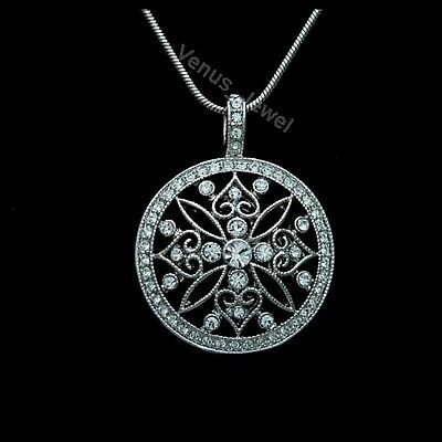 Clear Rhinestone Crystal Flower Round Pendant Necklace P077