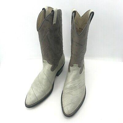 Vintage ACME Leather Western Cowboy Off White Boots Men's Size 10.5 D