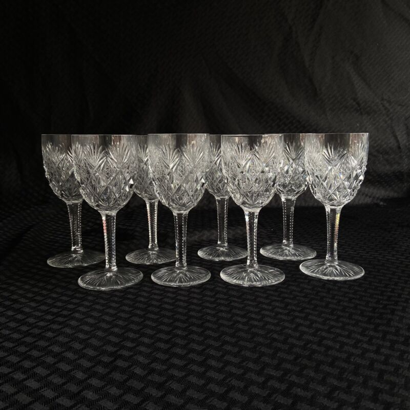 St Louis Crystal Lot of 8 Burgundy Wine Glasses Florence Pattern