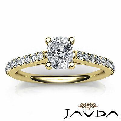 100% Natural Cushion Diamond Engagement Prong Set Ring GIA F Color VS1 0.75 Ct 10