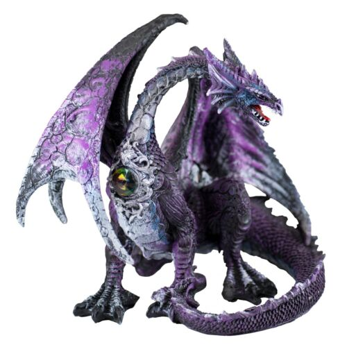 """Purple and Gray Sitting Dragon Figurine Statue 7.25"""" Long Resin New In Box"""