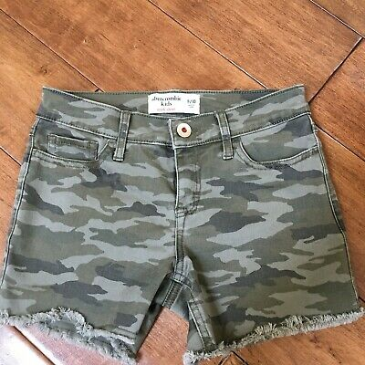 Abercrombie Kids Girls Size 9 10 Camo Cutoff Stretch Shorts EUC