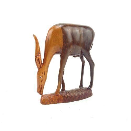 "Kenya, Africa Hand Carved Wood Impala Antelope Sculpture Figure 8"" Painted Eyes"