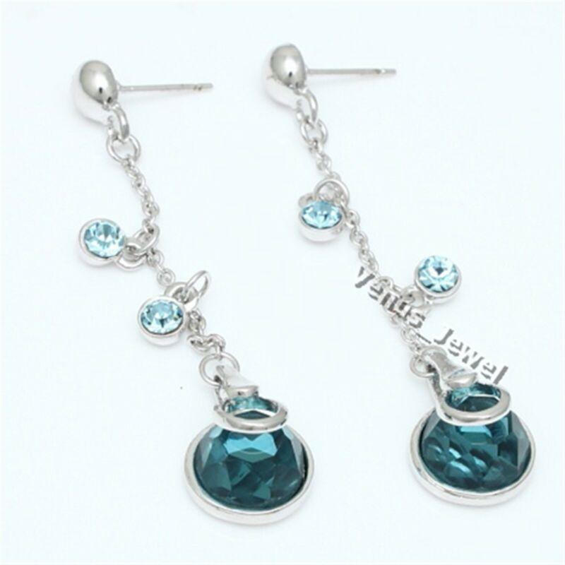Dangle Blue Zircon Circle Rhinestone Crystal Earring VE591