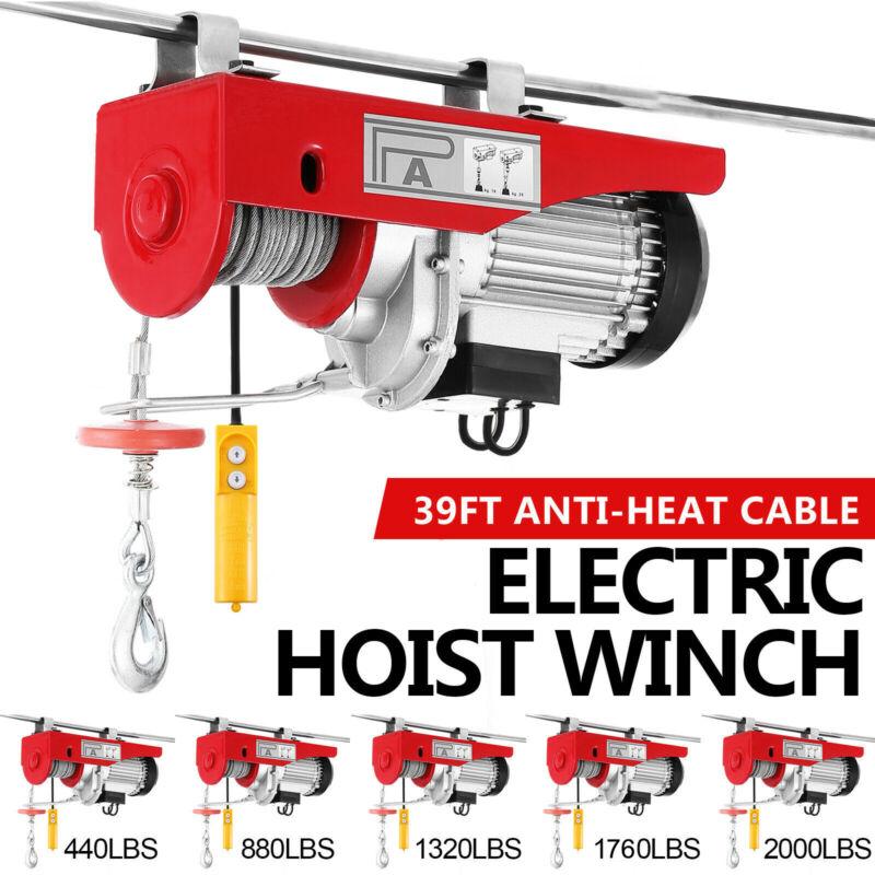 220-2200lb Electric Hoist Winch Lifting Engine Crane Cable Steel Garage Overhead