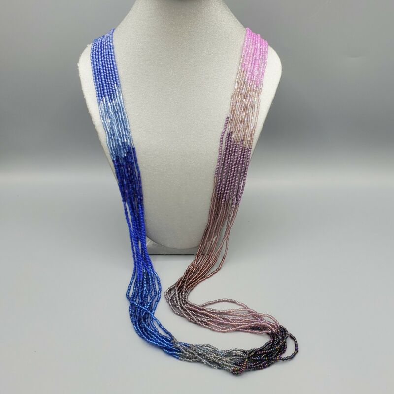 """Pink Blue Purple Gradient Glass Bugle & Seed Bead 10 Strand Necklace 40"""""""