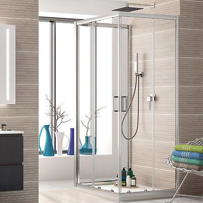 Box doccia 3 lati 70x90x70 cabina in cristallo trasparente e apertura scorrevole