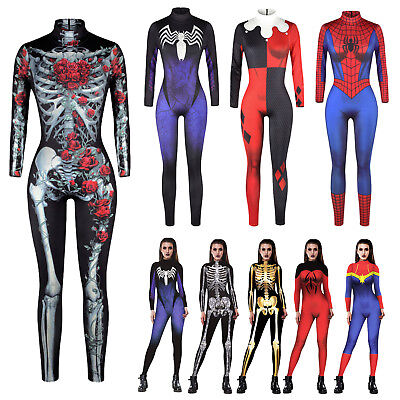 Women Adult Halloween Rose Skeleton Costume Party Fancy Play Superhero Jumpsuits](Adult Halloween Costume Parties)